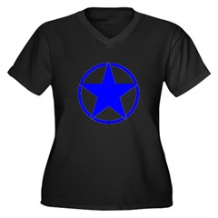 Blue Star Circle Women's Plus Size V-Neck Dark T-S