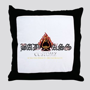 Bad Ass Customz Logo Throw Pillow