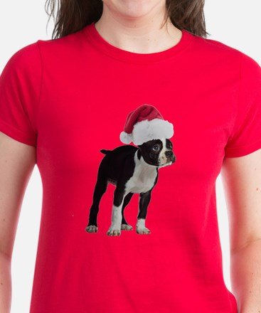 Boston Terrier Christmas Women's Dark T-Shirt