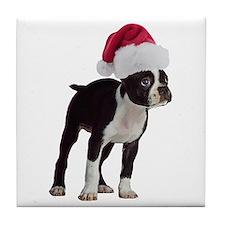 Boston Terrier Christmas Tile Coaster