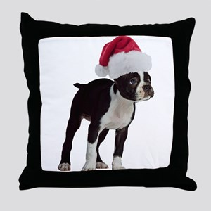 Boston Terrier Christmas Throw Pillow