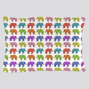 Colorful Parade of Elephants in Red, O Pillow Case