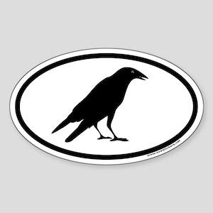Black Crow Euro Oval Sticker