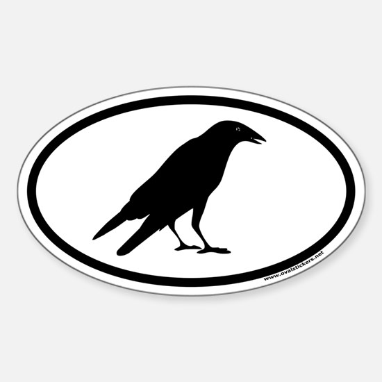 Black Crow Euro Oval Decal