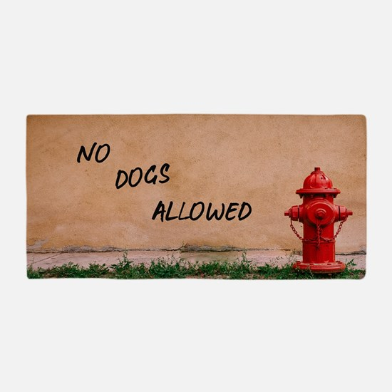 Red Fire Hydrant Wall Sign No Dogs Beach Towel