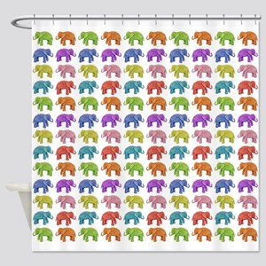 Colorful Parade of Elephants in Red Shower Curtain