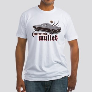 motorized mullet Fitted T-Shirt (white)