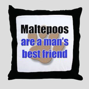 Maltepoos man's best friend Throw Pillow