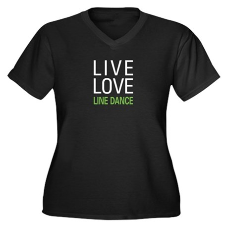 Live Love Line Dance Women's Plus Size V-Neck Dark