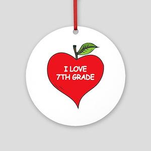 Heart Apple I Love 7th Grade Ornament (Round)