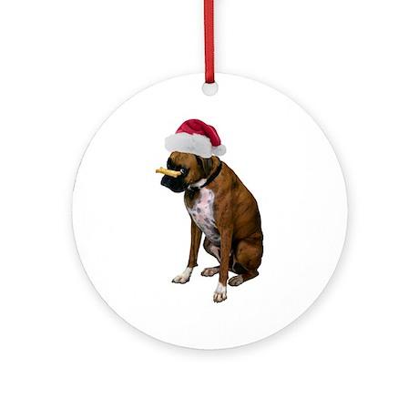 Santa Boxer Christmas Ornament (Round)