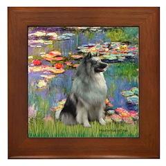 Lilies / Keeshond Framed Tile