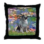 Lilies / Keeshond Throw Pillow