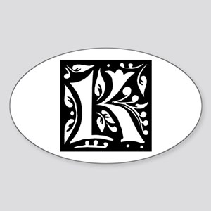Art Nouveau Initial K Oval Sticker