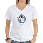 Kitty Kind Blue Eyes Snowshoe Cat Women's V-Neck T