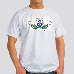 Vivian's Celtic Dragons Name Ash Grey T-Shirt