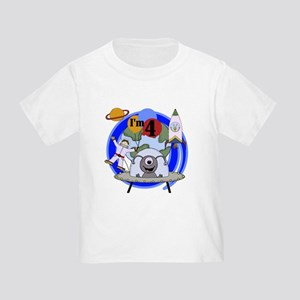 Outer Space 4th Birthday Toddler T-Shirt
