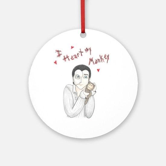 I heart my monkey Ornament (Round)