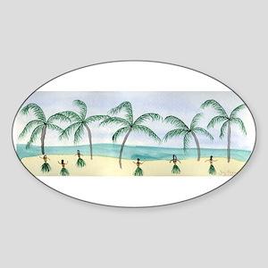 Hulas on the Beach Oval Sticker