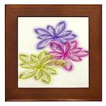 Glass Flowers of Three Design Framed Tile