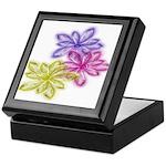 Glass Flowers of Three Design Keepsake Box