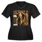 Kiss Me! Women's Plus Size V-Neck Dark T-Shirt