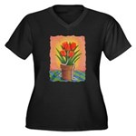 Tulips and Pearls Women's Plus Size V-Neck Dark T-