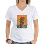 Tulips and Pearls Women's V-Neck T-Shirt