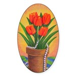 Tulips and Pearls Oval Sticker