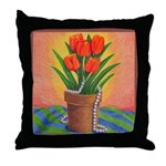 Tulips and Pearls Throw Pillow
