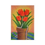 Tulips and Pearls Rectangle Magnet (100 pack)