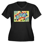 Poker Abstract Women's Plus Size V-Neck Dark T-Shi