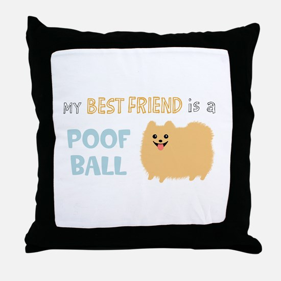 Pomeranian Poof Ball Throw Pillow
