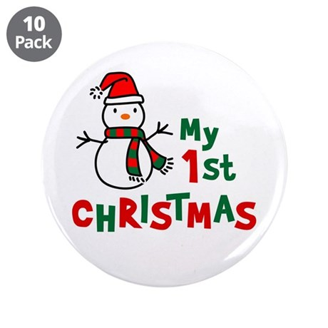 "My 1st Christmas - Snowman 3.5"" Button (10 pack)"