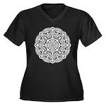 Geo Chrome Women's Plus Size V-Neck Dark T-Shirt