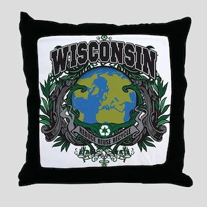 Wisconsin Green Pride Throw Pillow