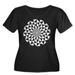 White Lotus Women's Plus Size Scoop Neck Dark T-Sh