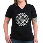 White Lotus Women's V-Neck Dark T-Shirt