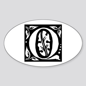 Art Nouveau Initial Q Oval Sticker