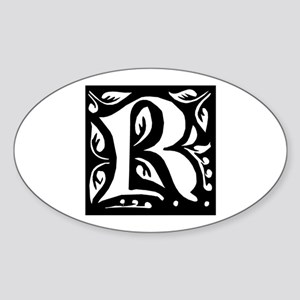 Art Nouveau Initial R Oval Sticker