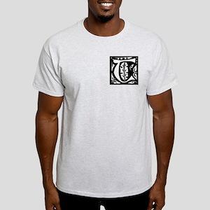 Art Nouveau Initial T Ash Grey T-Shirt
