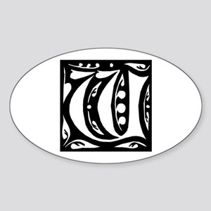 Art Nouveau Initial W Oval Sticker