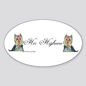 Yorkshire Terrier Her Highnes Oval Sticker