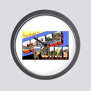 Cedar Point Ohio Greetings Wall Clock