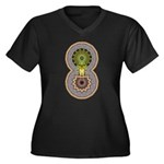 Geo Organic Women's Plus Size V-Neck Dark T-Shirt