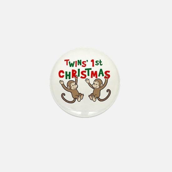Twins' First Christmas - Monkey Mini Button