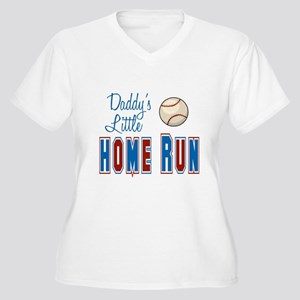 Daddy's Little Home Run Women's Plus Size V-Neck T