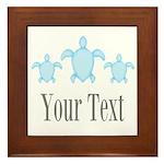 Sea Turtle Ocean Blue Name Framed Tile