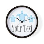 Sea Turtle Ocean Blue Name Wall Clock