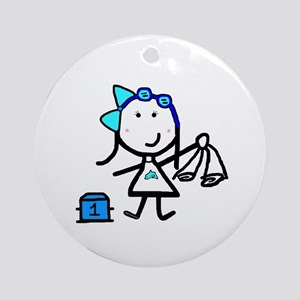 Girl & Swimming Ornament (Round)